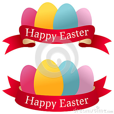 Happy Easter Ribbons with Eggs