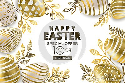 Happy Easter sale banner. Vector golden 3d eggs and gold leves. Design for holiday flyer, poster, party invitation. Vector Illustration