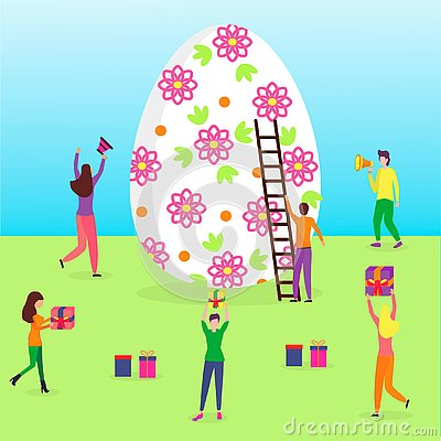 Happy Easter scene with tiny people Stock Photo