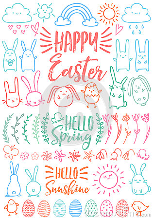 Free Happy Easter, Set Of Vector Doodles Royalty Free Stock Photo - 87450335