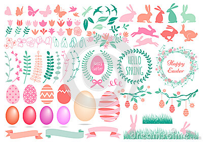 Happy Easter set, vector Vector Illustration