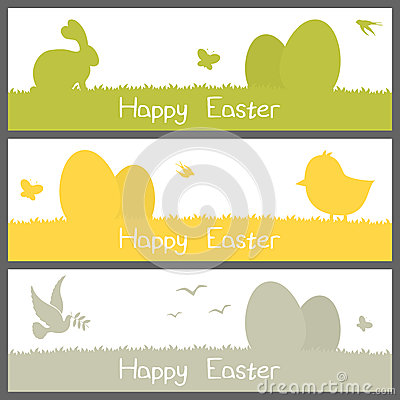Happy Easter Silhouettes Banners Set