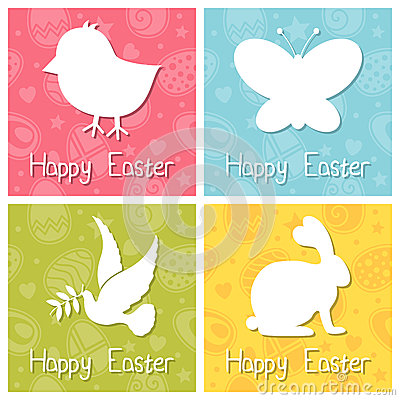 Happy Easter Silhouettes Cards Set