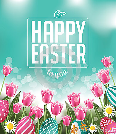 Free Happy Easter Tulips Eggs And Text Stock Photography - 50783712