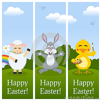 Happy Easter Vertical Banners