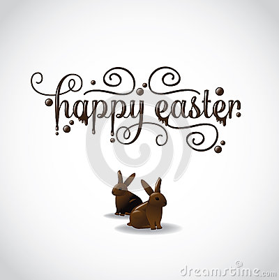 Free Happy Easter With Two Chocolate Bunnies Royalty Free Stock Photography - 50187677