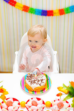 Happy Eat Smeared Baby Eating First Birthday Cake Stock Images - Image ...