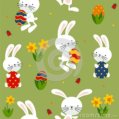 Happy Eater with rabbits, daffodils, eggs. Vector Illustration