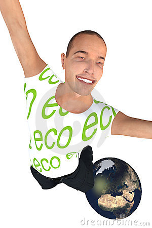 Happy eco man on World