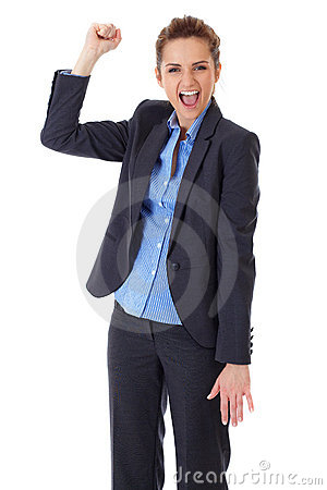 Happy and ecstatic businesswoman on white