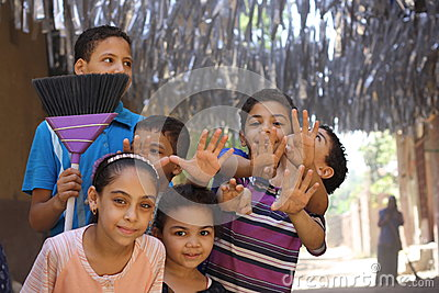 Happy egyptian kids playing in the street in giza, egypt Editorial Stock Photo