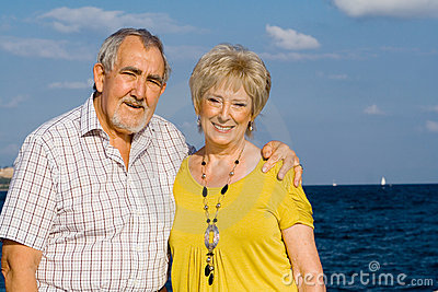 Happy elderly couple on vacation