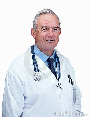 Happy elderly doctor isolated against white