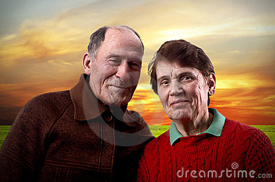 Happy elderly family