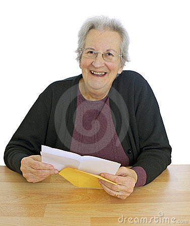 Free Happy, Elderly Lady With Letter Stock Photography - 21856302