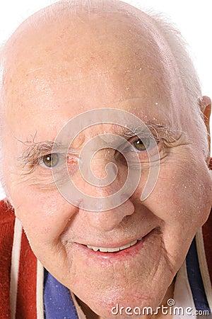 Happy elderly man headshot