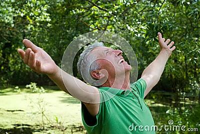 Happy elderly man in a park