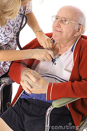 Happy elderly man in wheelchair checking vitals