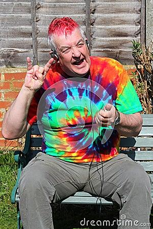Happy elderly rocker.