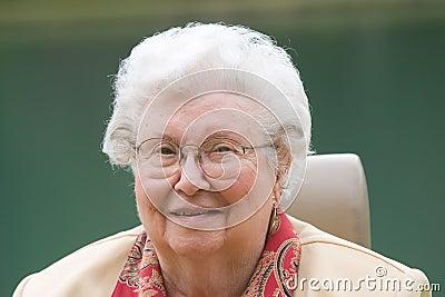 Happy Elderly Woman Outdoors
