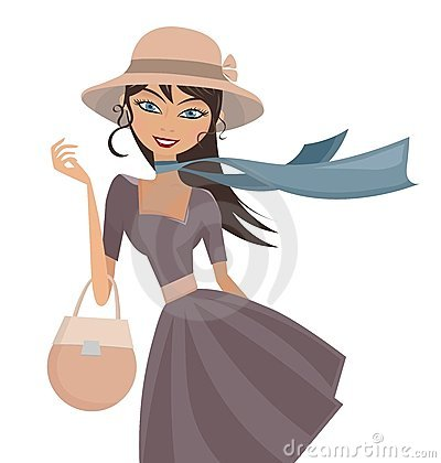 Free Happy Elegant Lady With Hat And Scarf Royalty Free Stock Photos - 23947668
