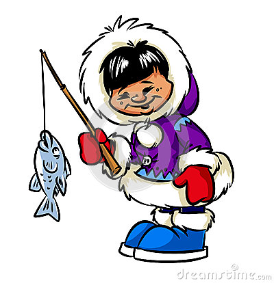 Happy Eskimo boy and fish
