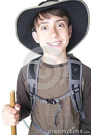 Happy excited boy hiker