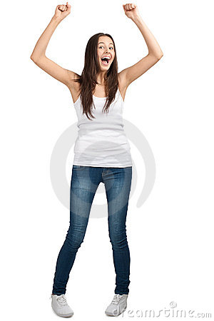 Happy excited girl with arms extended