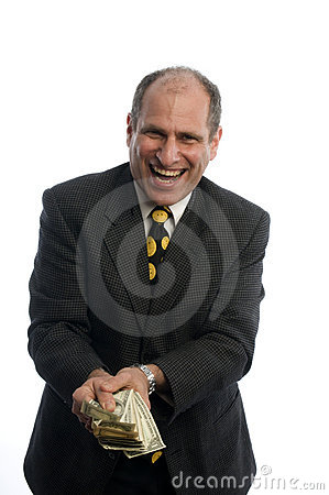 Happy excited man with money