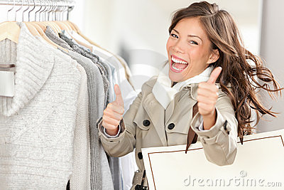 Happy excited shopping woman