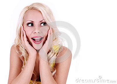 Happy excited woman looking up and screaming. cheerful beautiful blonde young woman isolated