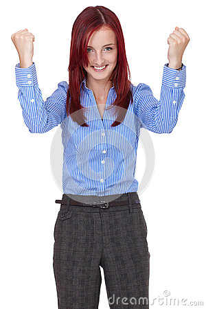 Happy and excited young businesswoman, isolated