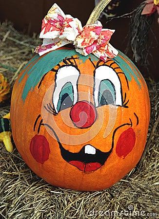Happy Face Painted Pumpkin Stock Photos Image 6013063