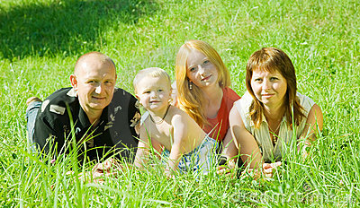 Happy family of 4 people