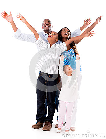 Happy family with arms open