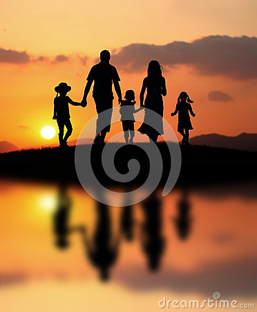 Free Happy Family At Sunset Royalty Free Stock Images - 25278429