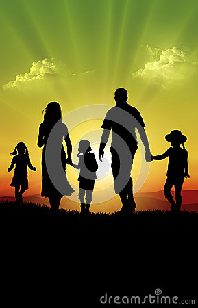 Free Happy Family At Sunset Stock Photos - 26453153