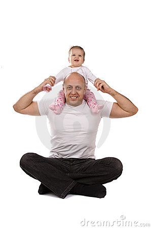 Happy family. Baby on father s shoulders