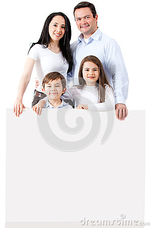Happy family with a banner