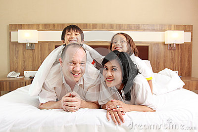 Happy Family In The Bed Stock Photography - Image: 25856402