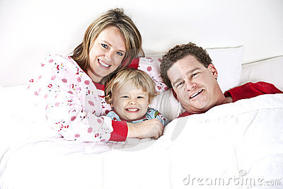 Happy Family at bedtime