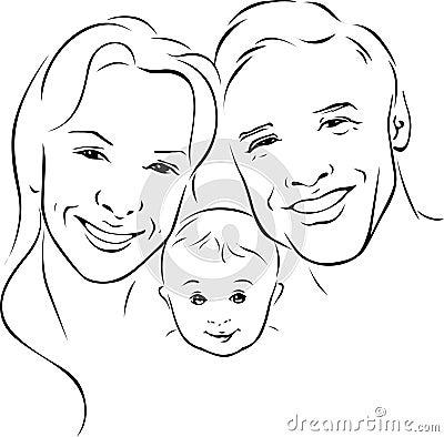 Royalty Free Stock Image Happy Family Black Outline Illustration White Background Image40615276 on House Plan Map