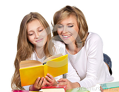 Happy family with books