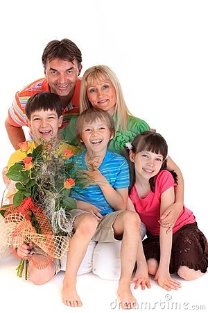 Happy family with bouquet