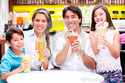 Happy family at a cafeteria