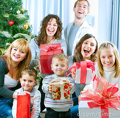Free Happy Family Celebrating Christmas.Gifts Royalty Free Stock Photography - 22081807