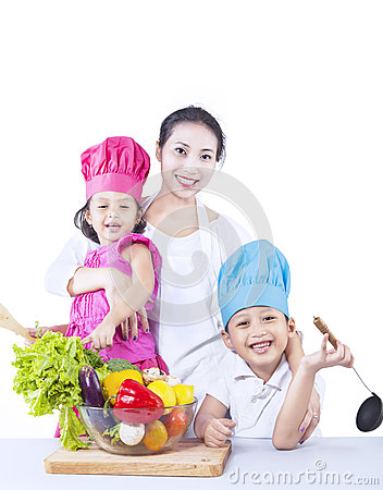 Happy family chef isolated