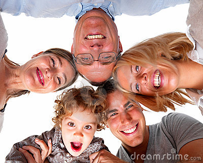 Happy family in circle against white background
