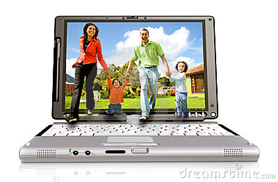 Happy family coming out laptop