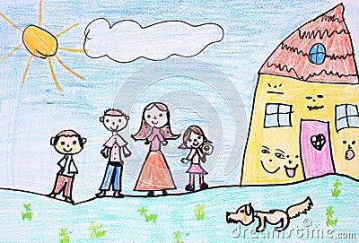 Happy family - crayon drawing
